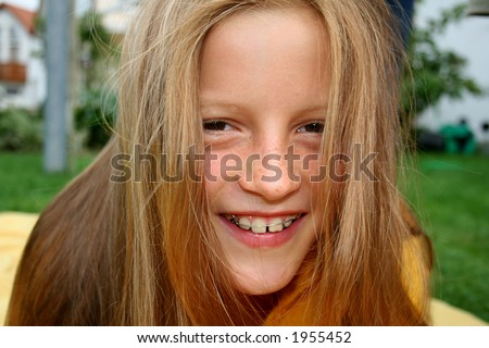 Young Girl Braces Hair Front Her Stock Photo Edit Now 1955452