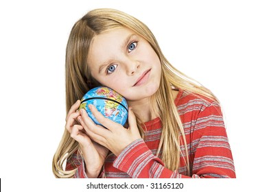 young girl care about the world