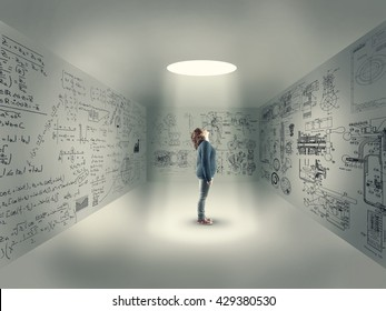 Young girl in center of a room looking up through a hole, izolated in a room with mathematical formulas written on wall