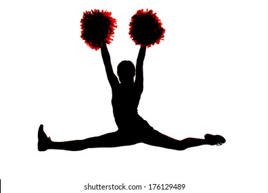 Young girl cheerleader silhouette doing the splits