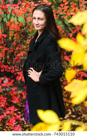 6a076dced Young Girl Classic Black Coat Blue Stock Photo (Edit Now) 743015110 ...
