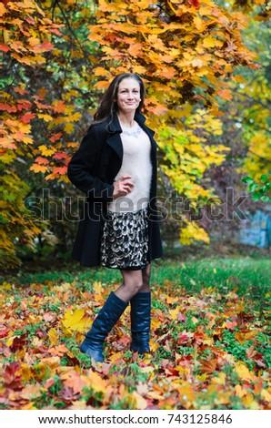 c6cdbb889 Young Girl Classic Black Coat Blue Stock Photo (Edit Now) 743125846 ...