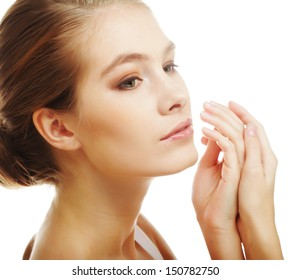 young girl with clean skin on pretty face