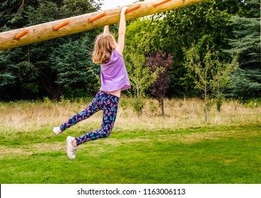Young girl climbing monkey bar in the park in the summer
