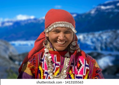 Young girl closeup in traditional costume at Manali, Himachal, Pradesh, India, southeast, asia,
