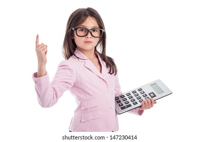 Young girl counting a calculator and holding up one finger. Isolated on white background.