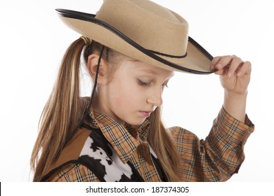 Young girl in cowboy hat, children