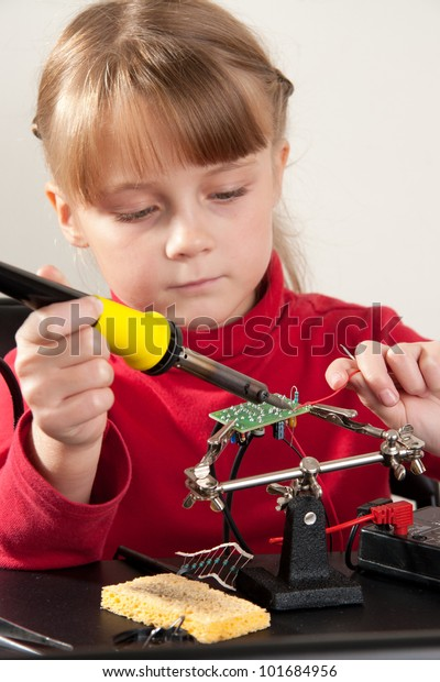 Young girl create DIY project