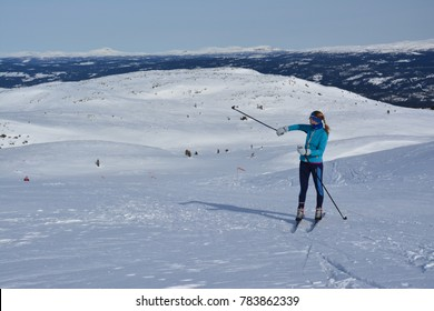 A young girl cross country skiing in Valdres national park, Norway near Oslo.