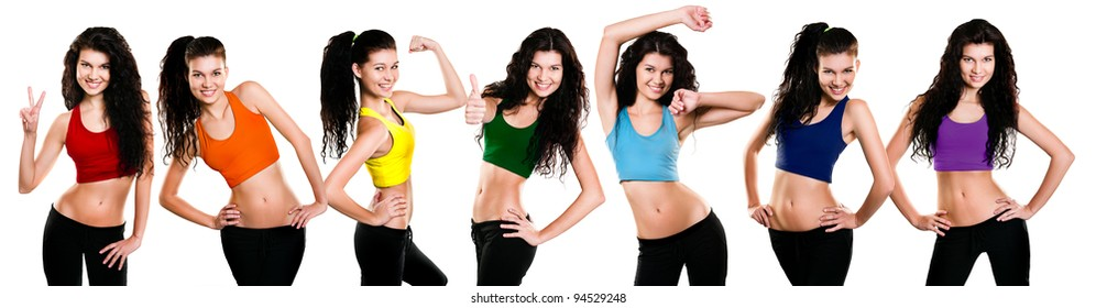 Young girl in different poses and dressed in a rainbow sportswear