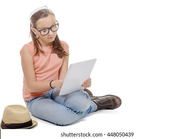 young girl with a digital tablet on white