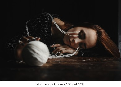 The young girl is disappointed lying on the floor