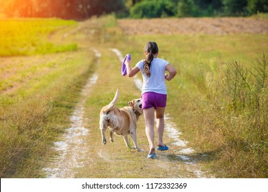 Young girl with dog running on the dirt road in the field in summer. Girl holding in the hand a ring for traning
