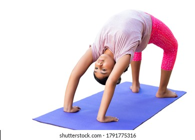 Young Girl Doing Bridge Stretch on Yoga Mat, Isolated, White