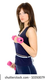 Young girl doing fitness with weights