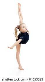 young girl doing gymnastics over white background