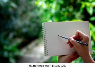 young girl draws in the garden