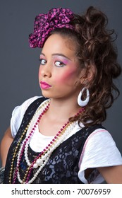 Young girl dressed in 80s style