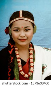 young girl dressed in Nepalese cultural white dress, ethnic attire