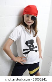 Young girl dressed as a pirate