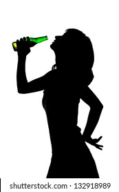 young girl drinking beer from a glass bottle, silhouette