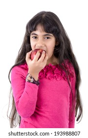 Young Girl Eating Apple Isolated on White Background