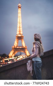 Young girl at the Eiffel Tower