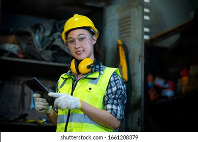 young girl engineer in the factory