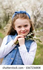 Young girl enjoying spring