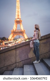 Young girl in Europe in the evening