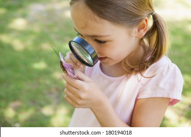 Young girl examining a butterfly with magnifying glass at the park