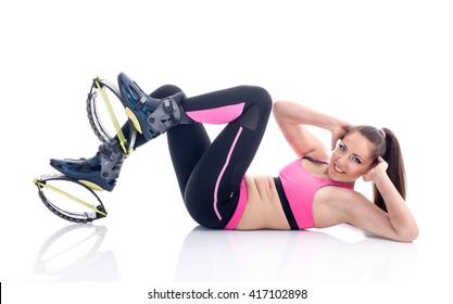 young girl exercising with kangoo shoes