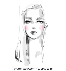 Young girl face with pink blush cheeks black and white pencil sketch portrait. Beautiful woman model look illustration. Fashion art for beauty print, card, poster.