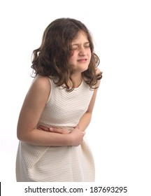 young girl feels sicks , stomach pain