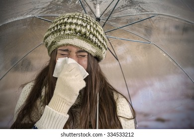 Young girl with flu