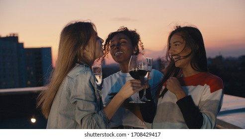 Young girl friends hanging out with drinks, talking, chatting , celebrating birthday. Outdoor shot of young people toasting vine at rooftop sunset party.