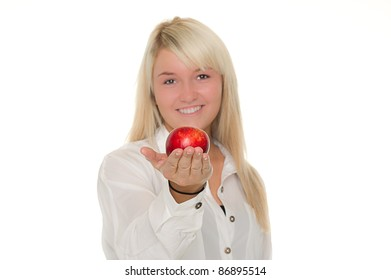 Young girl is giving an apple away. Over white background