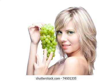 young girl with grape