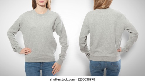 young girl in gray sweatshirt front and rear, gray hoodies, blank isolated on white background. mock up