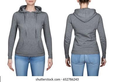young girl in gray sweatshirt, gray hoodies. white background