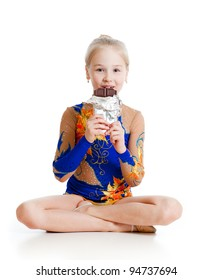 young girl  gymnast  with chocolate over white background