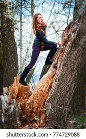 Young girl hacking tree with axe, outdoors, early spring day.