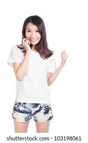 Young Girl Happy smile with white T-Shirt isolated over white, model is a asian woman