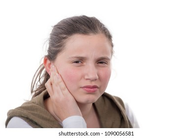 young girl has earache isolated on white background