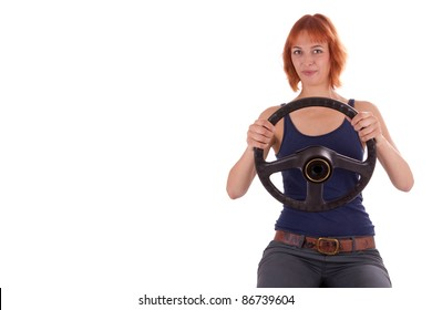The young girl has a wheel in her hands