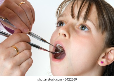 Young girl having a dental check-up