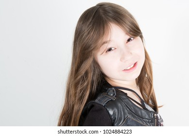 young girl healthy smile indoor white background
