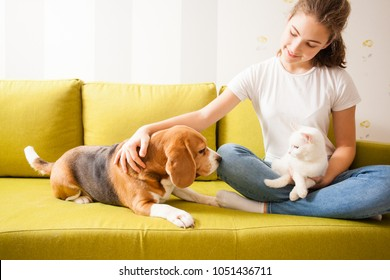 young girl with her pets