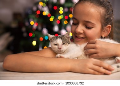 Young girl with her rescued kitten in front of the xmas tree at christmas time - admiring the fluffy hair of her gift