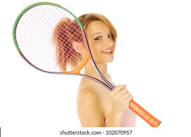 A young girl with her tennis racket 151